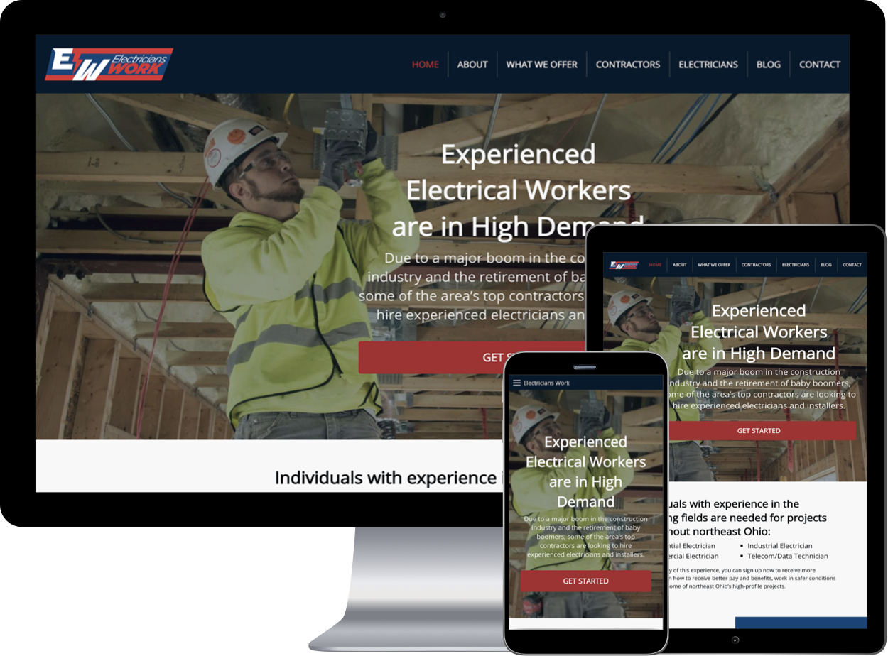 Electricians Work Website example shown in mini devices