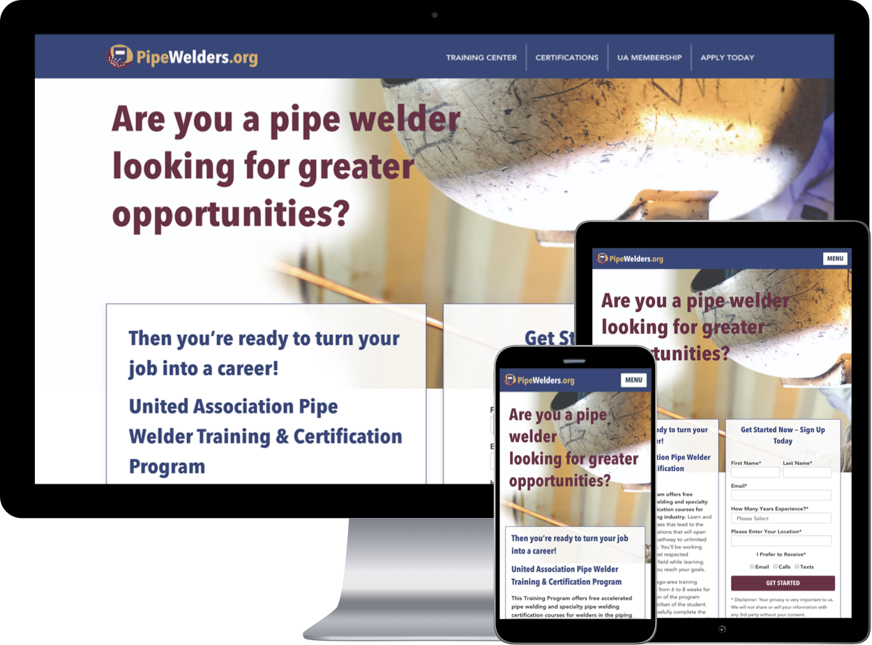 PipeWelders Website example shown in mini devices
