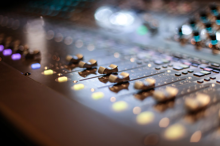 Image of live sound board running the production of Union anniversaries, meetings, conferences or convention events