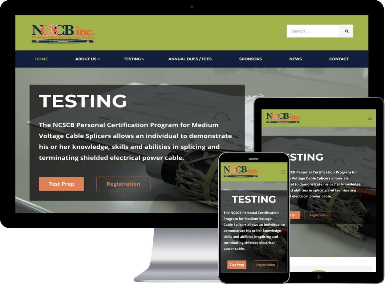 Desktop, tablet, and mobile view of the National Cable Splicing Certification Board Website