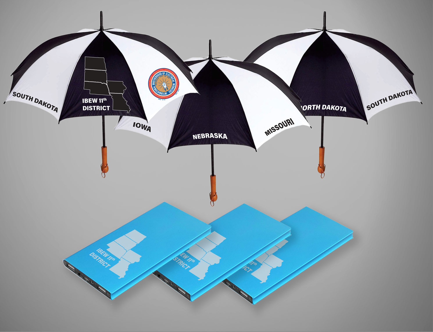 IBEW 11th District Umbrellas and Power Banks