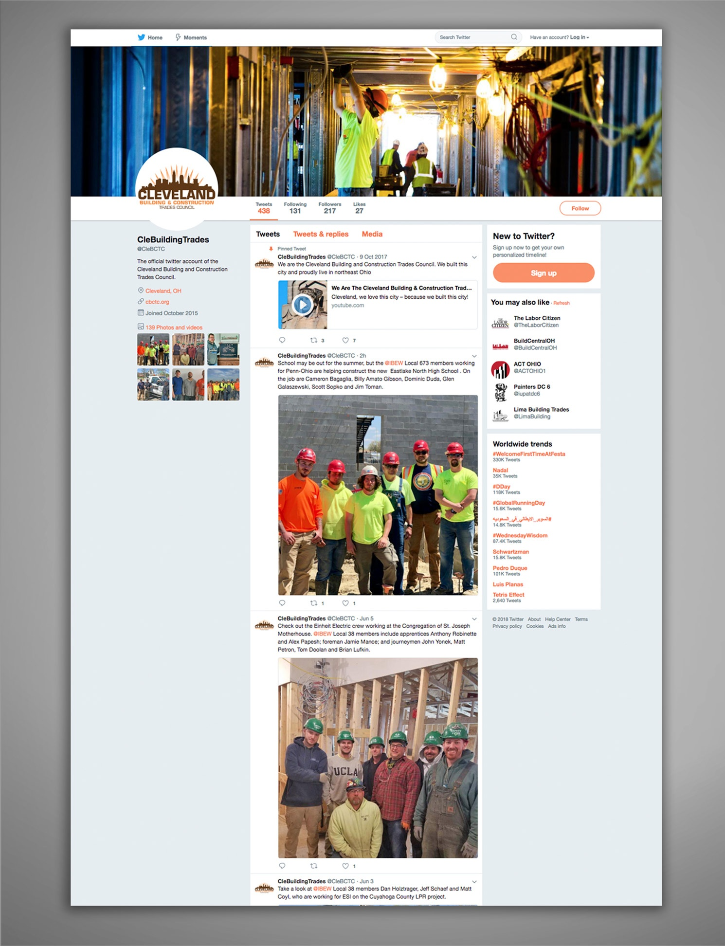 Cleveland Building Trades Social Media Twitter