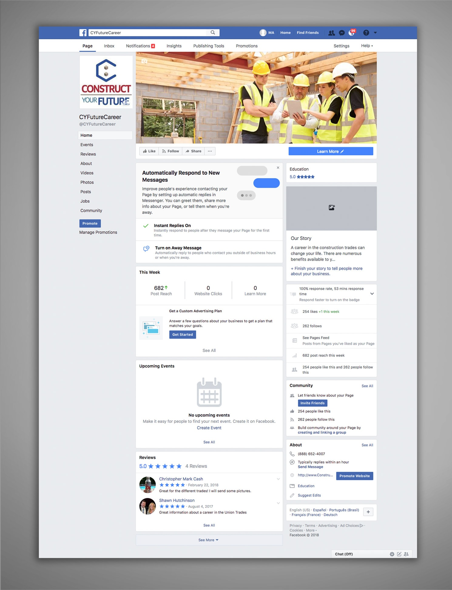 Construct Your Future Facebook Management