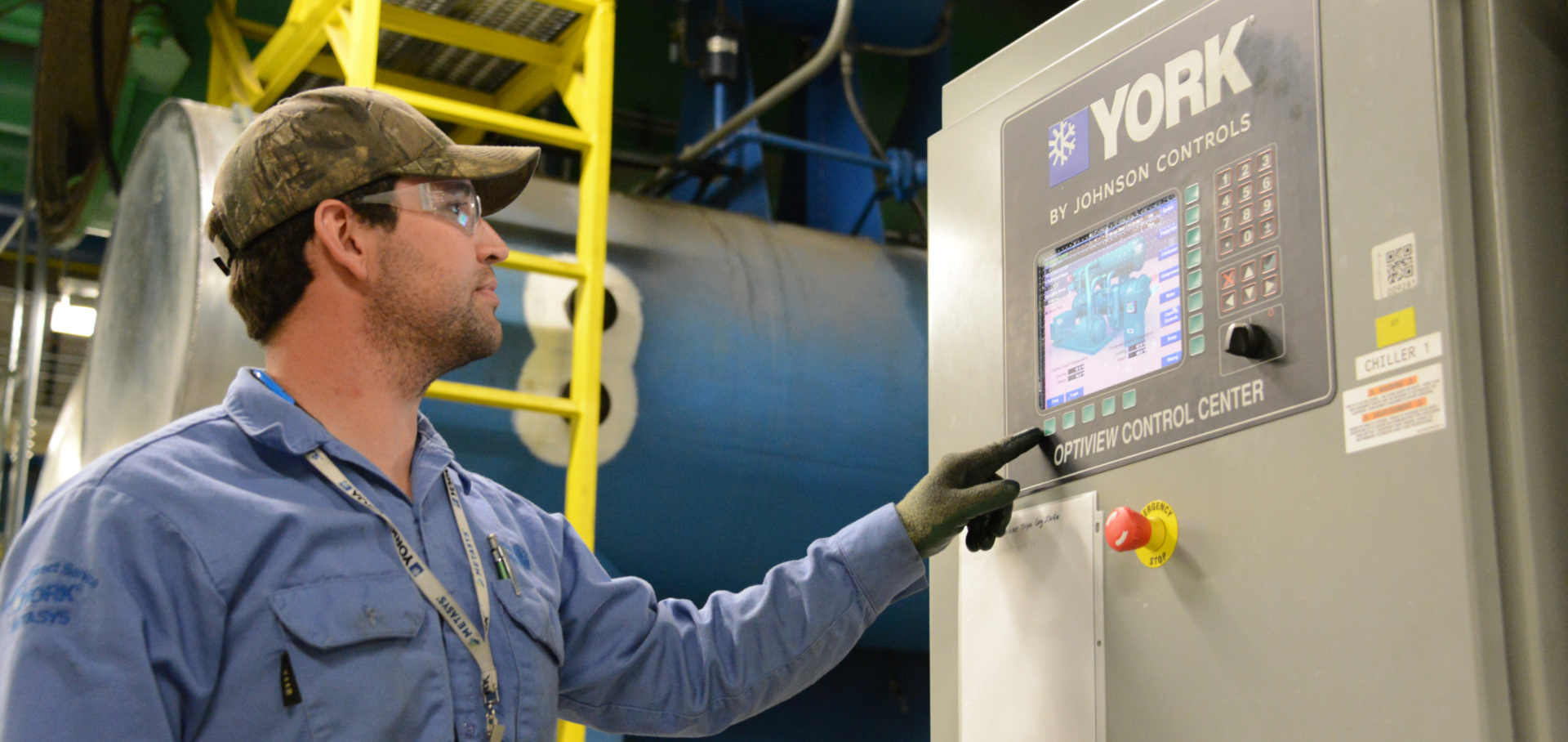 HVAC Technician programing at the York Optiview Control Center